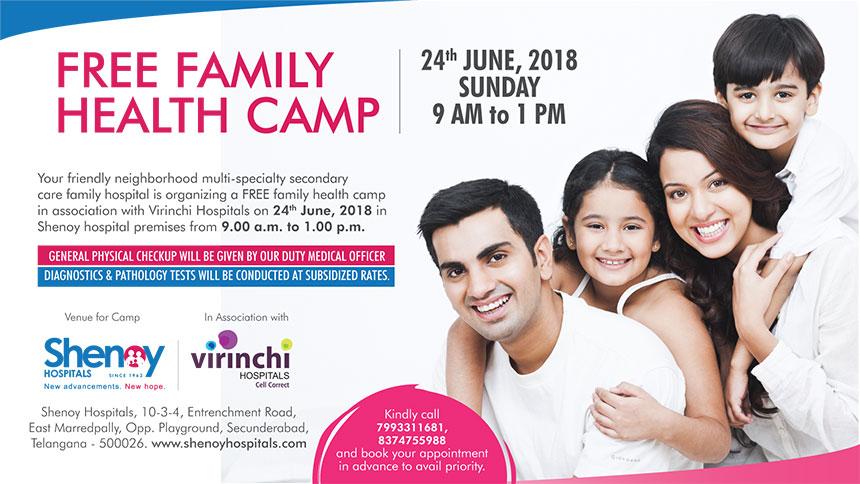 FREE FAMILY HEALTH CAMP AT SHENOY HOSPITALS